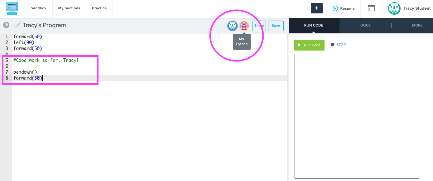 Screenshot highlighting the logged in user icons and different chunks of code by collaborators