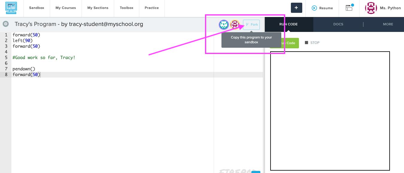 Screenshot highlighting the Fork button