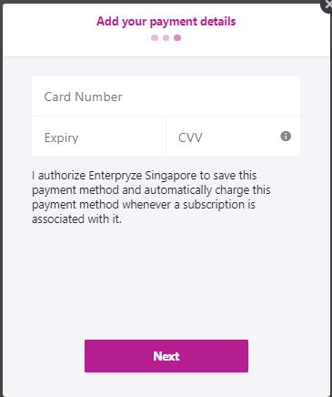Enterpryze Subscription - enter credit card details