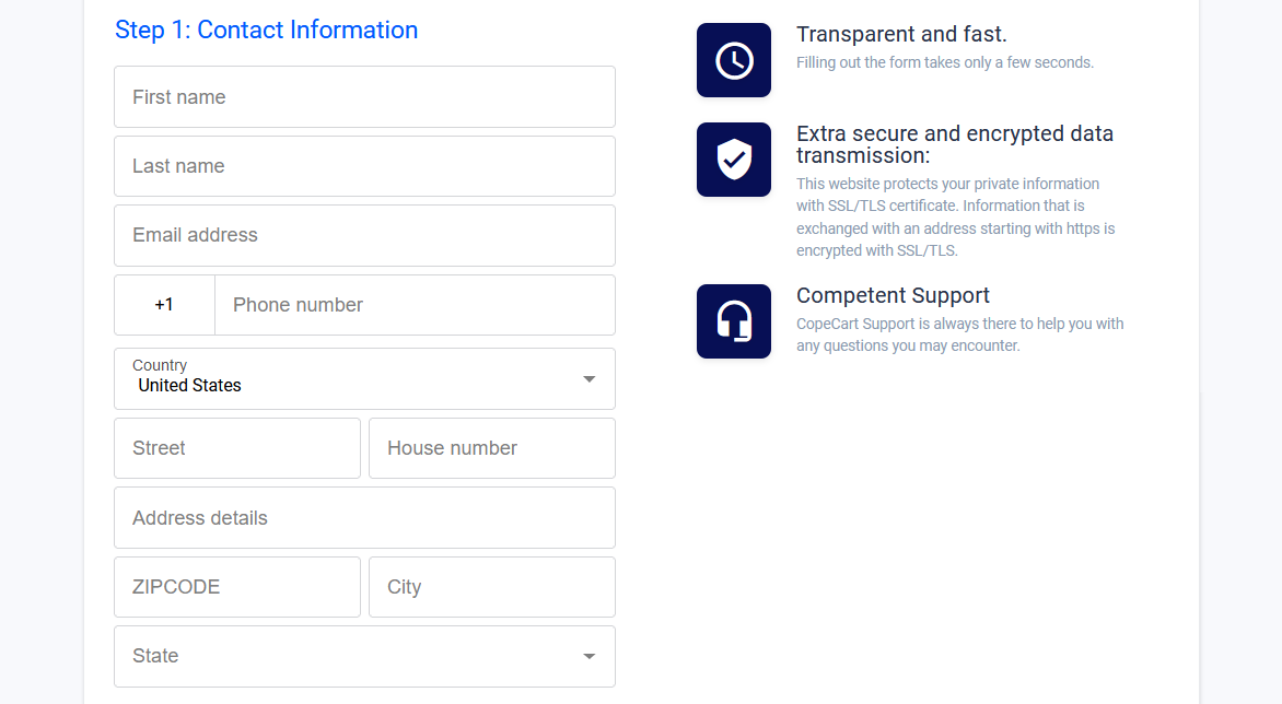 Checkout example with the mandatory fields