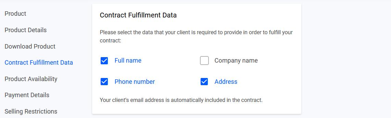 Contract fullfillment settings