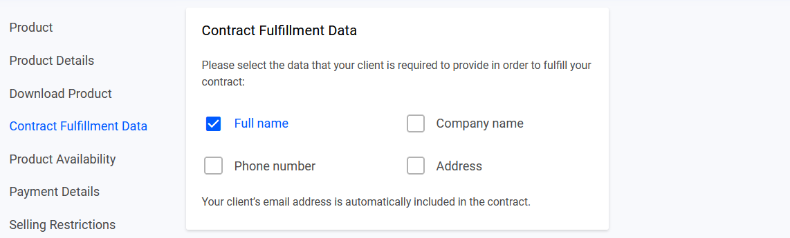 Only full name is required during checkout