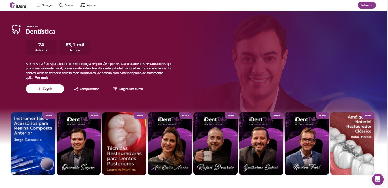 Imagem demonstrando a página de Dentística do iDent