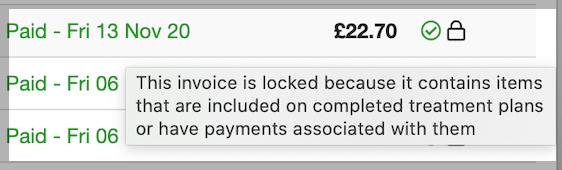 Dentally Account Invoice locked tool tip