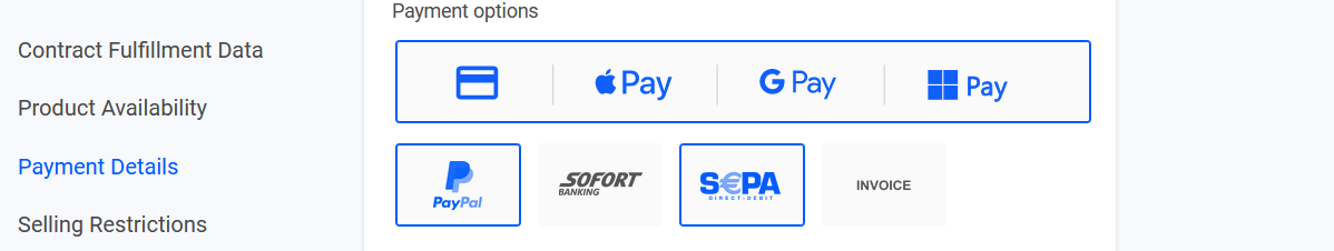 Disabled payment methods