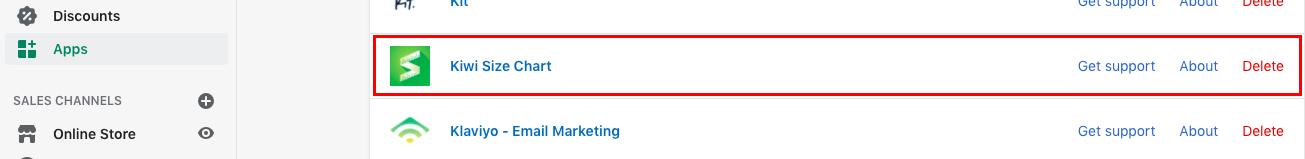 Kiwi size chart on Shopify dashboard