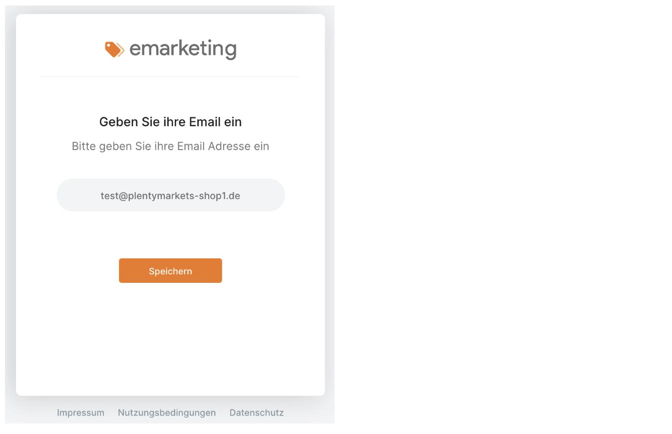 Email Abfrage für Plentymarkets Account bei emarketing