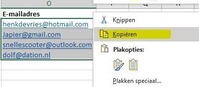 Filter emails uit dation leerlingen excel