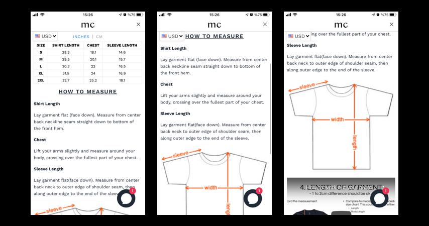 mobile version of Kiwi size chart