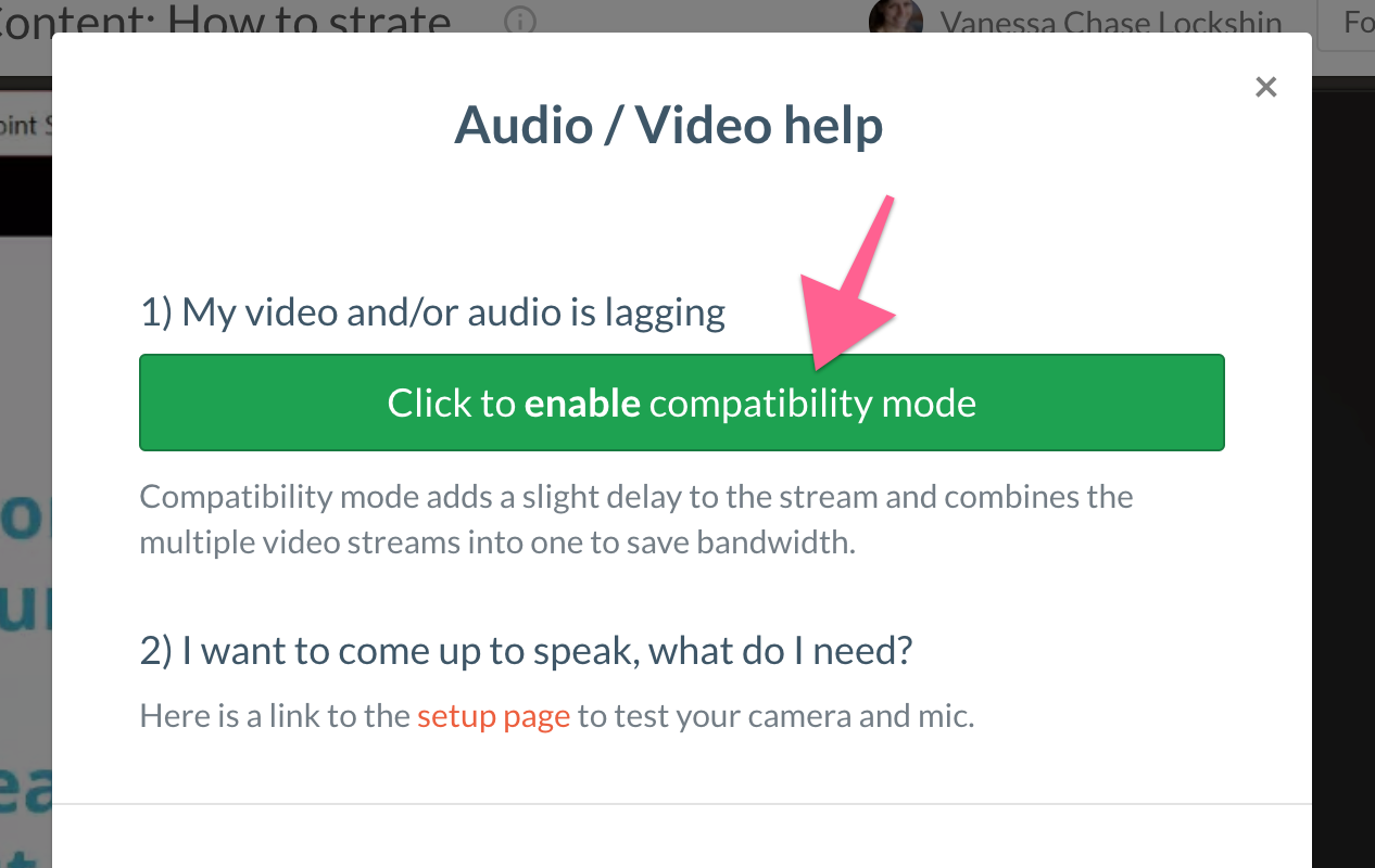 Picture of the help button pop up with an arrow pointing to the