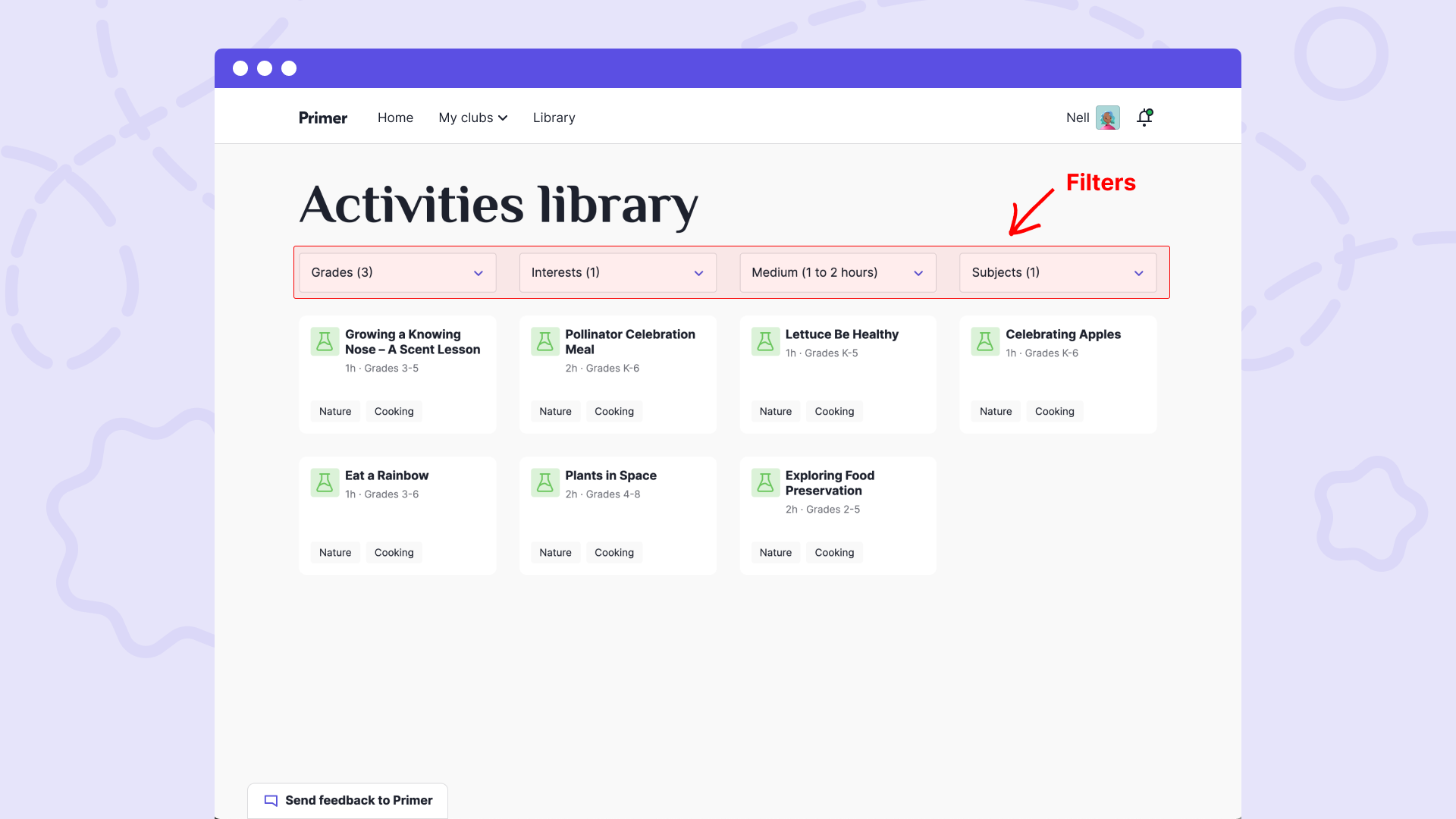 Activities library filters