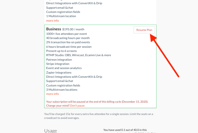 resume plan button