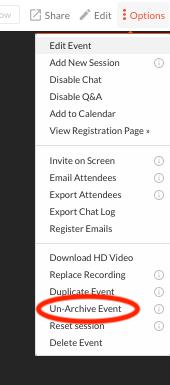 Un-archive event option within options menu.