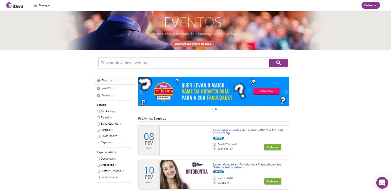 Imagem mostrando página de eventos no site do iDent