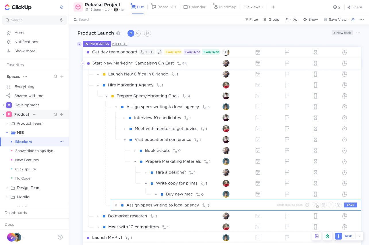 image of a List view with several layers of Nested Subtasks