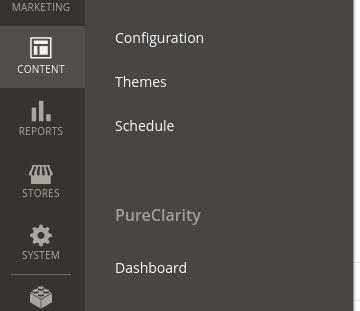PureClarity Dashboard Menu item under the Content main menu item