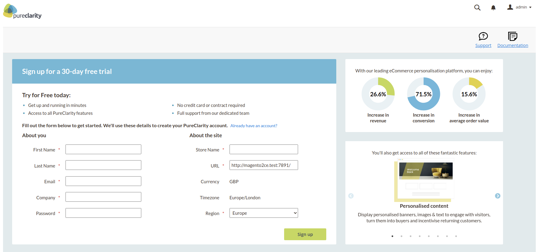 Dashboard page showing signup form and marketing information
