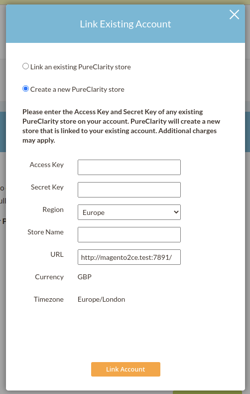 Link existing account popup, showing