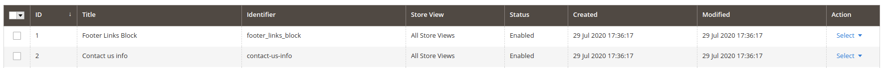 Magento CMS blocks listing, with identifier column