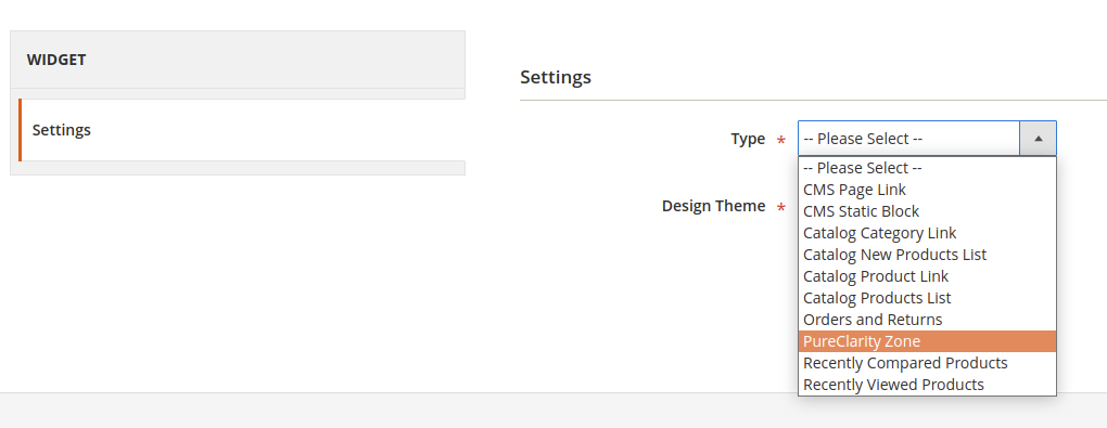 Widget setup page, with type & design theme options