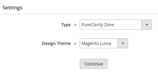 Completed Widget setup page