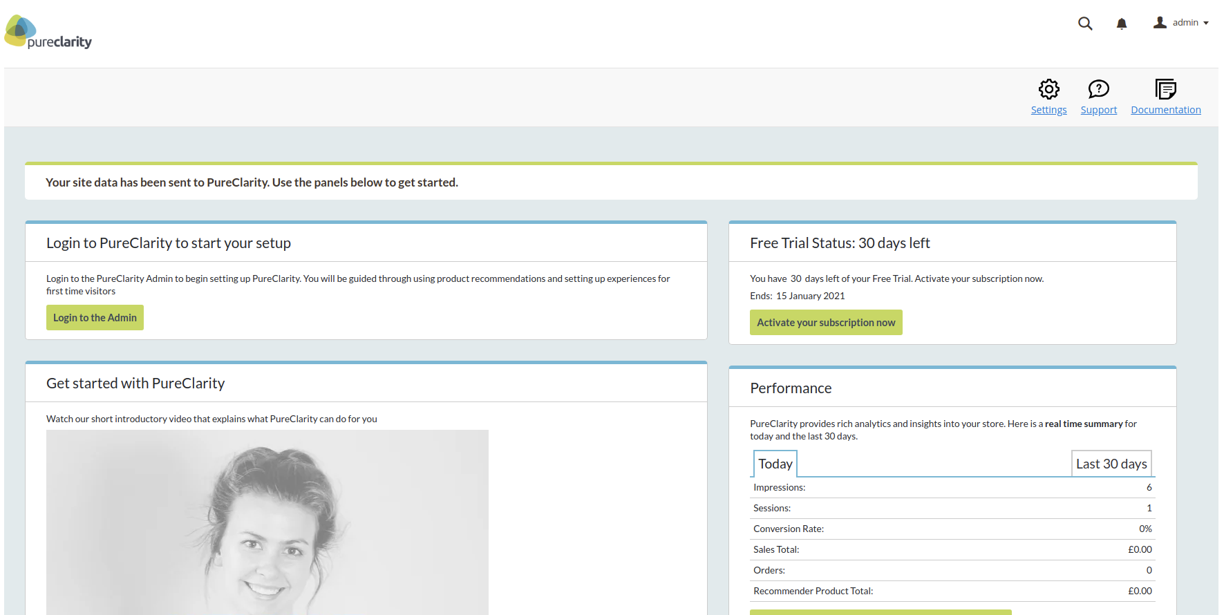 PureClarity dashboard page after signup