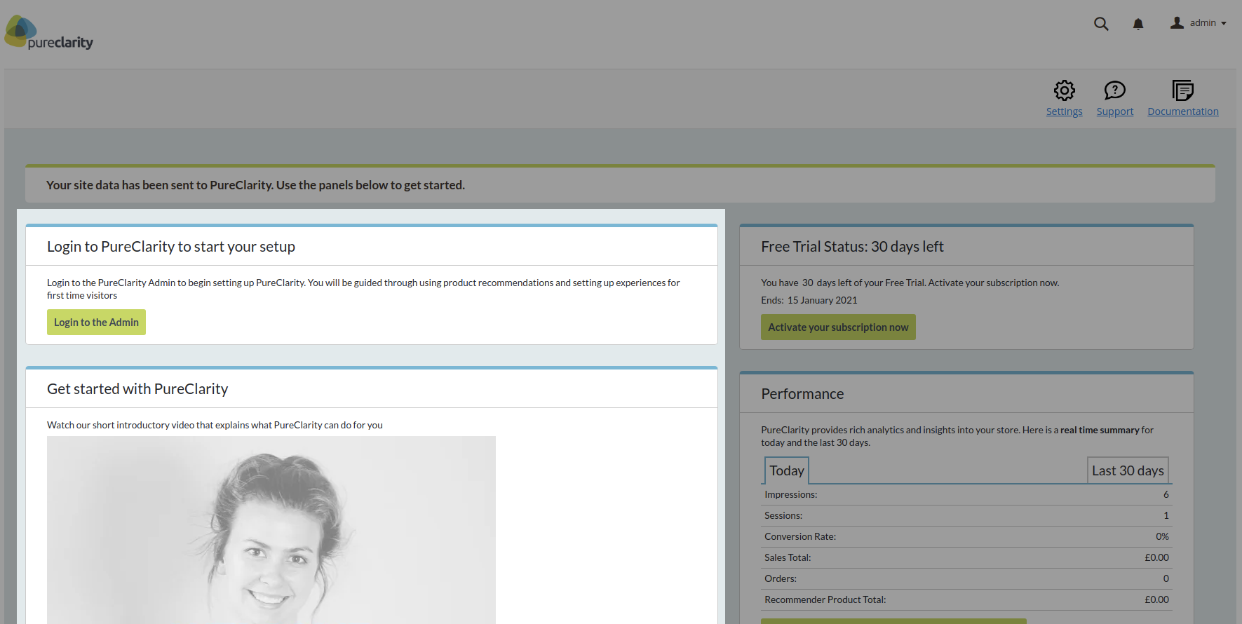 Next steps show in the left hand column of the Dashboard page