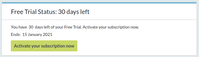 Free trial status box, showing how long is left on your trial