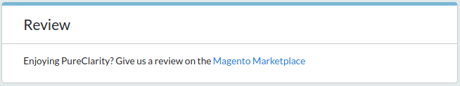 Review box links to Magento Marketplace to encourage reviews