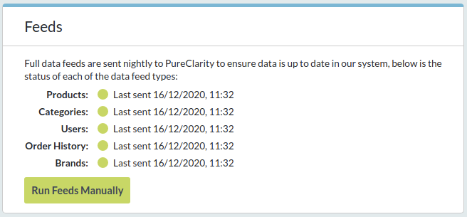 Feeds box shows status of all data feeds