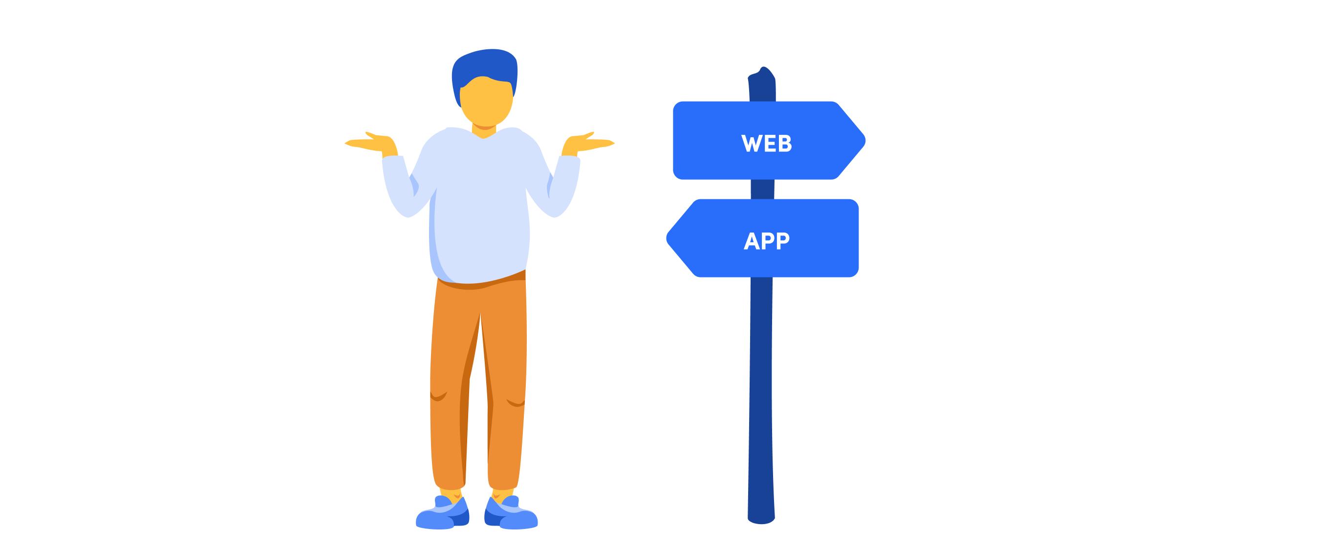 Eine Person steht vor einem Wegweiser, auf dem die beiden Optionen Web und App angezeigt werden.