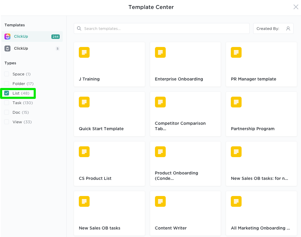 Showing template center with List templates selected
