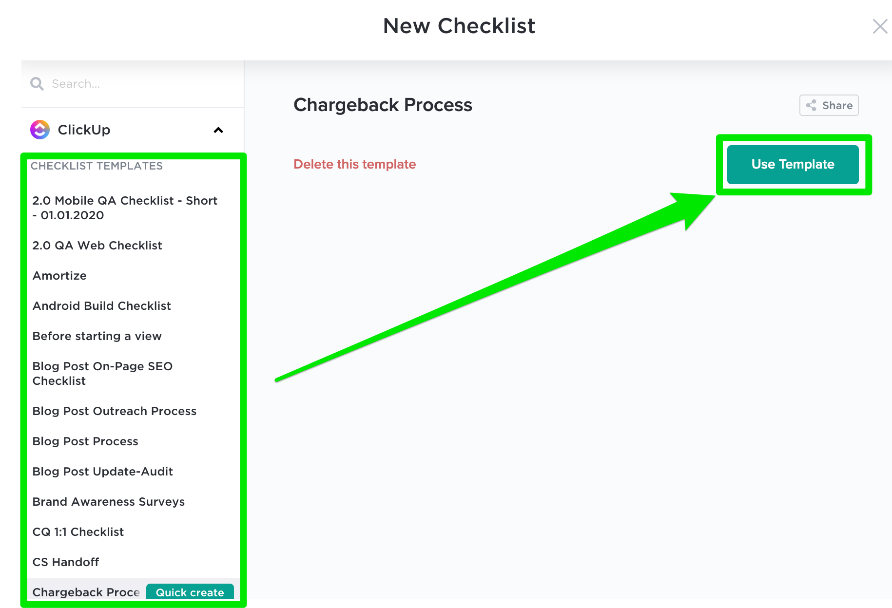Showing how to select and use a checklist.