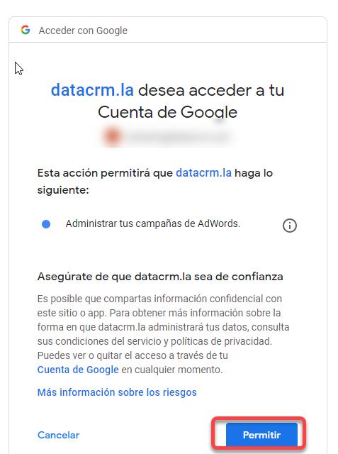Aceptar permisos para DataCRM