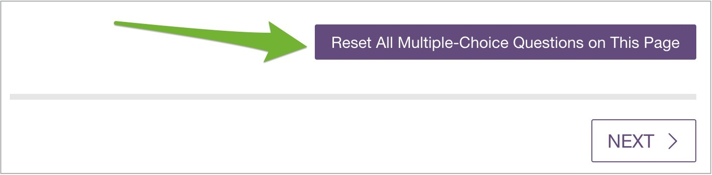 """Arrow pointing to the """"Reset"""" button at the bottom of the page."""
