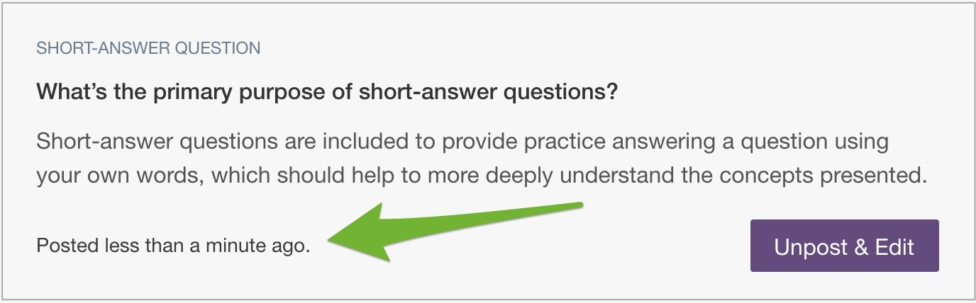 """A short-answer question with arrow pointing to """"Posted less than a minute ago"""" note."""
