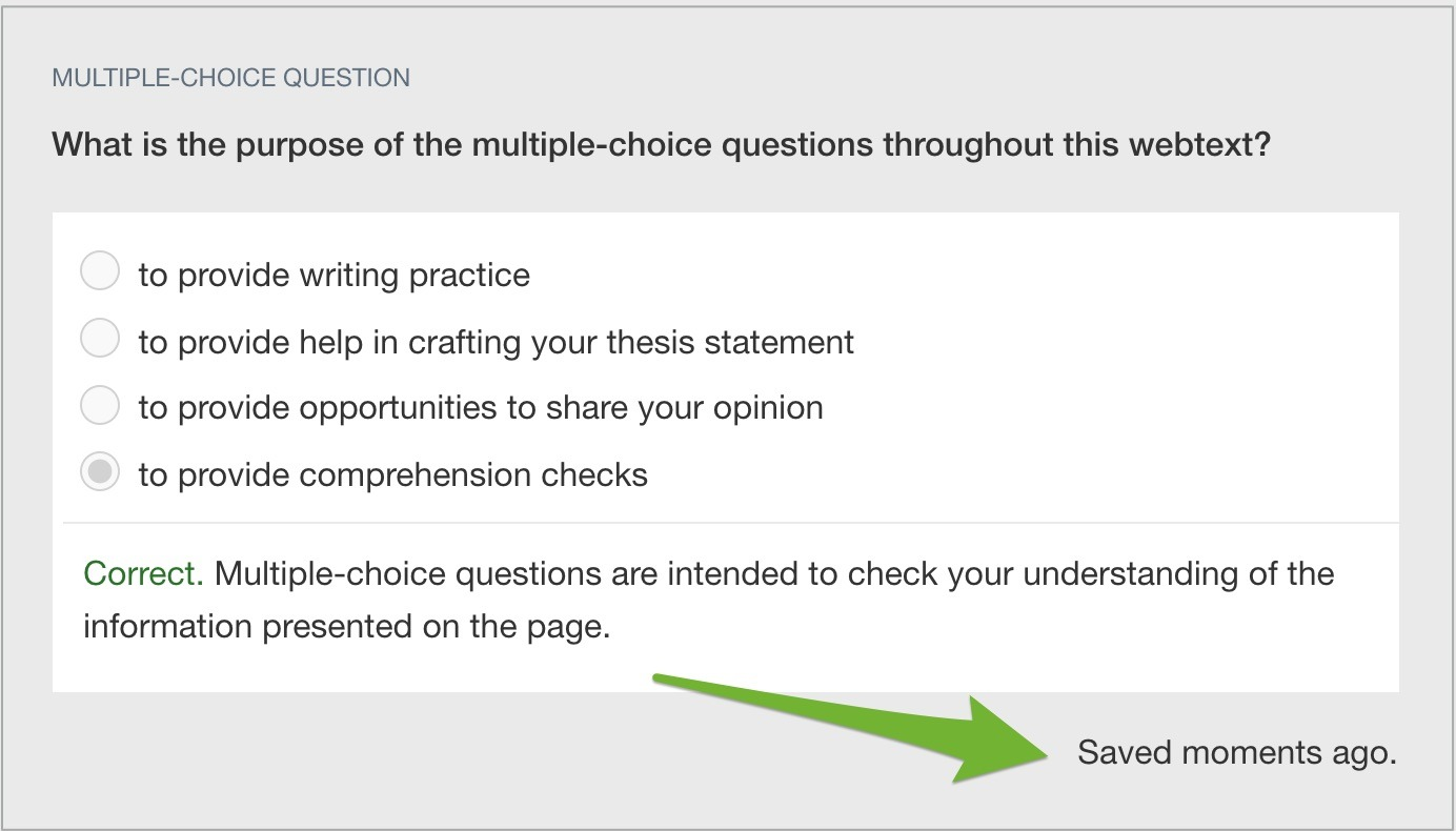 """A multiple-choice question with arrow pointing to """"Saved moments ago"""" note."""