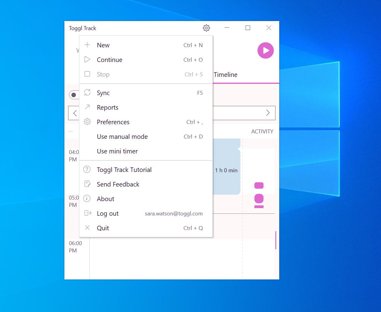 Cogwheel Menu Options Windows Track Desktop app