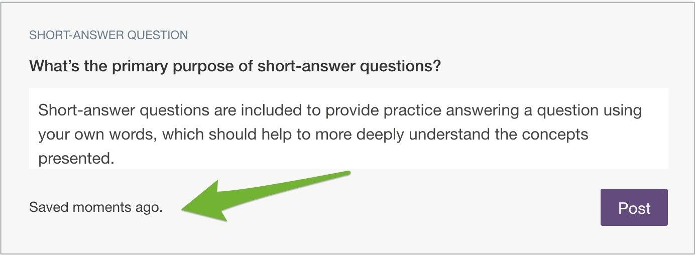 """A short-answer question with arrow pointing to """"Submitted less than a minute ago"""" note."""