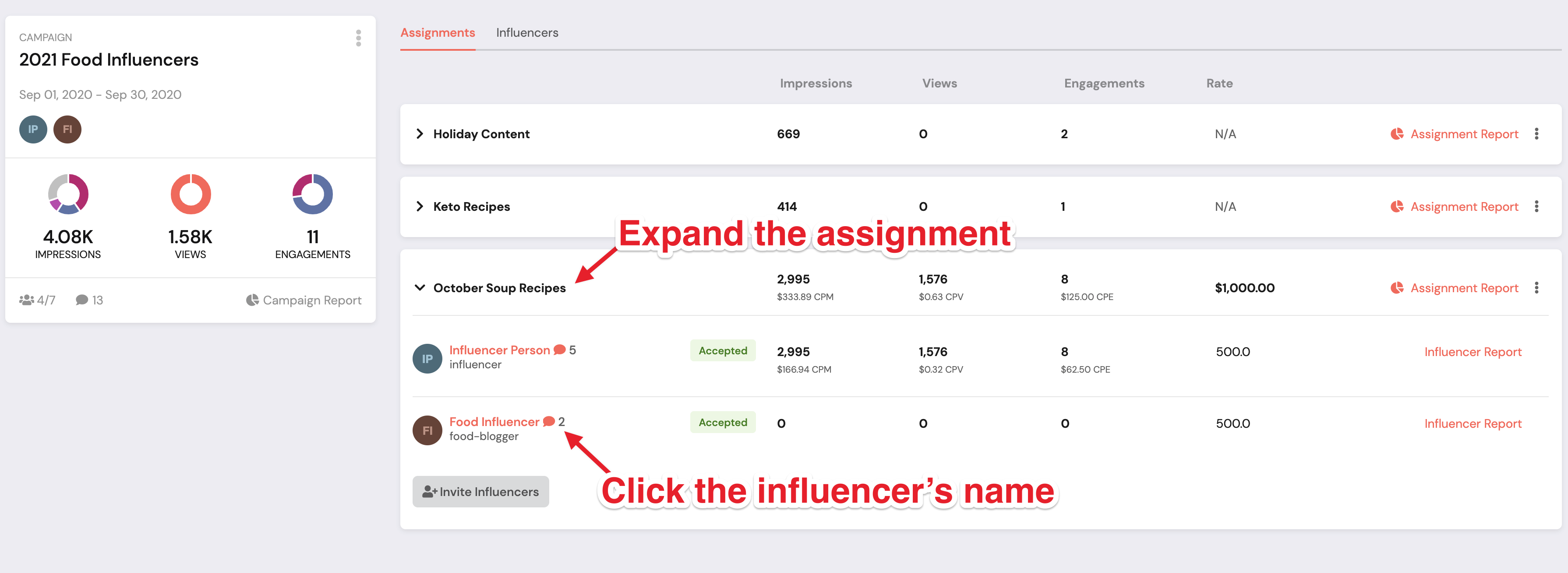 Expand the assignment and click the influencer's name