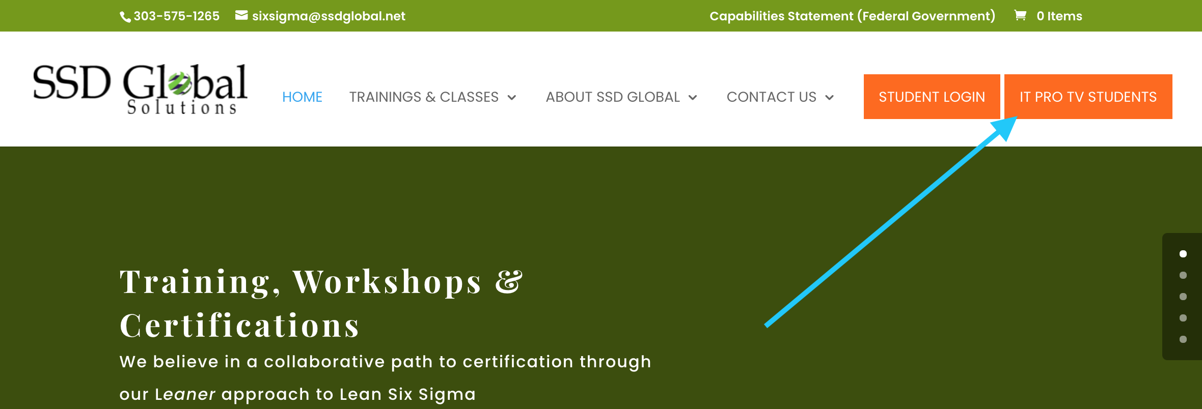 screeenshot of SSD Global homepage, button directing ITProTV students