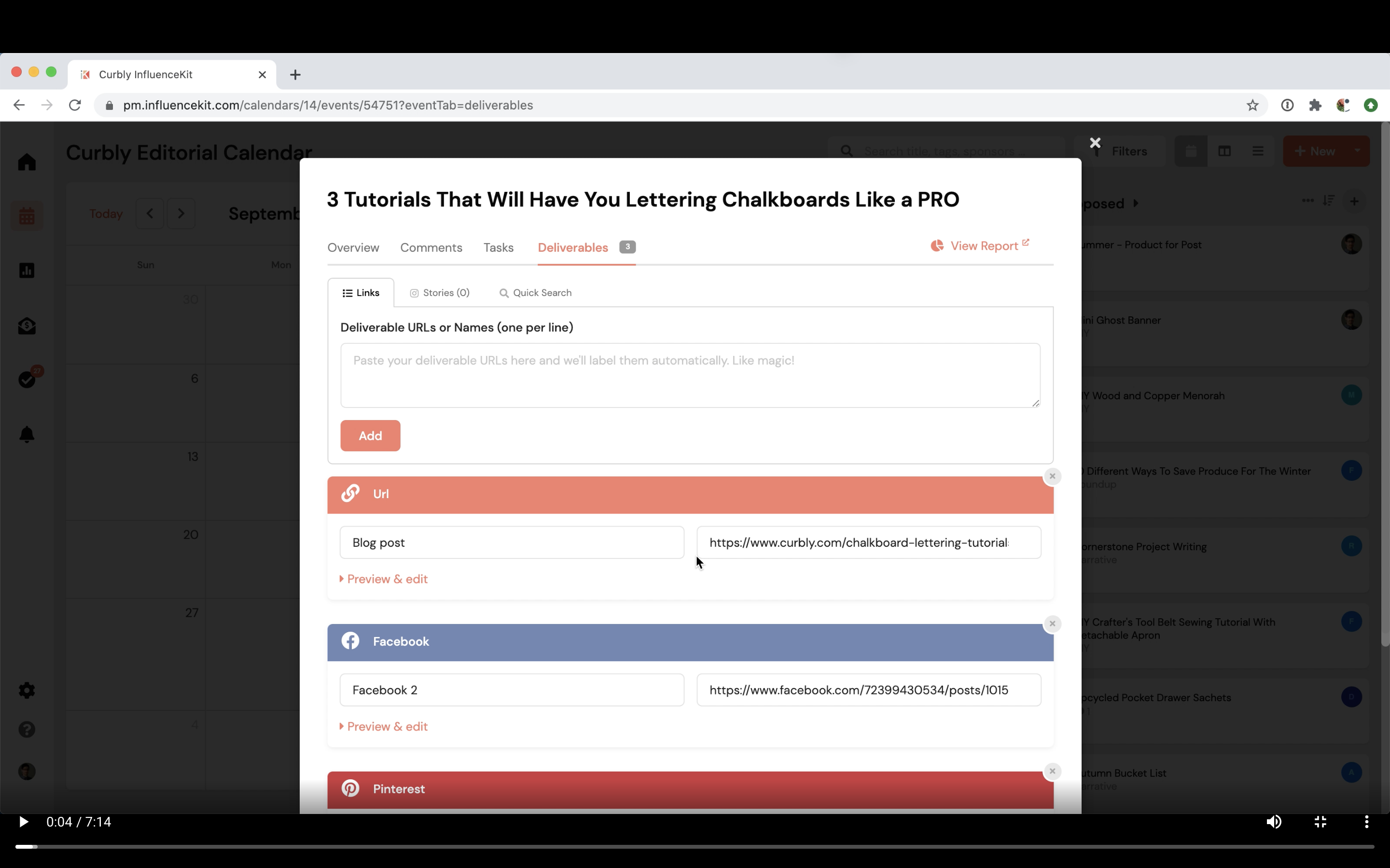 Deliverables - how to track all the deliverables for a campaign