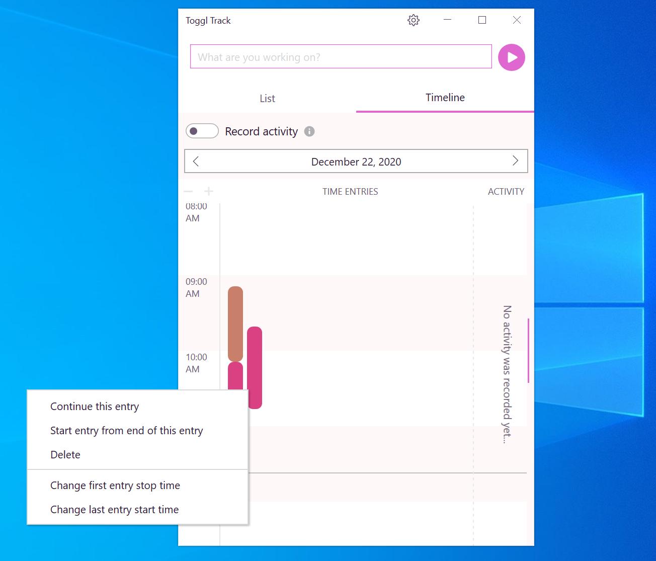 Delete a time entry Windows Track Desktop app Timeline view