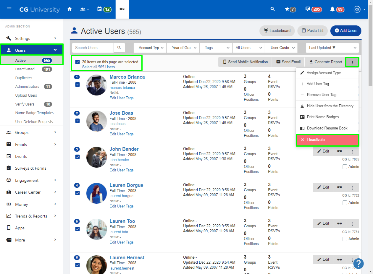 A screenshot highlighting buttons on the Active Users page
