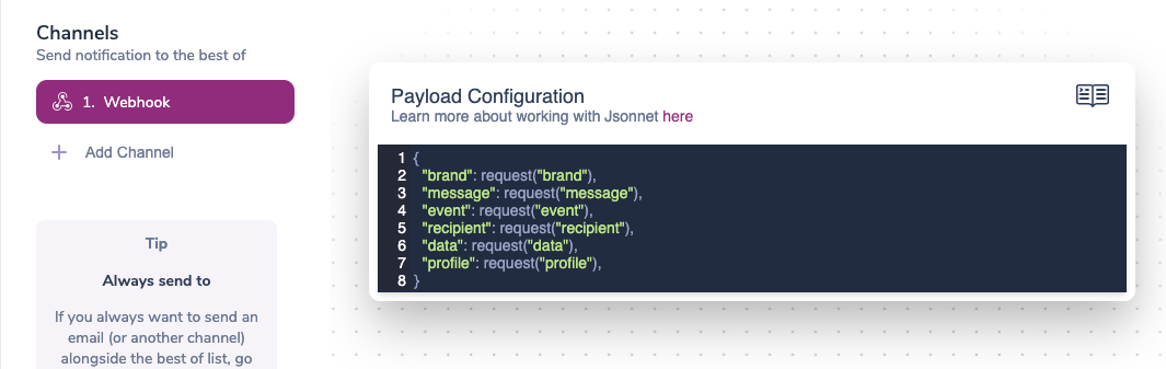 Configuring Webhook Payload Using Jsonnet