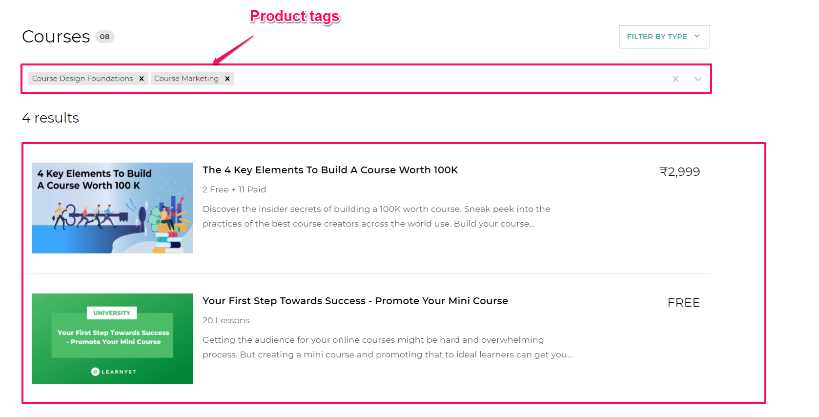 content tagging your course using product tag