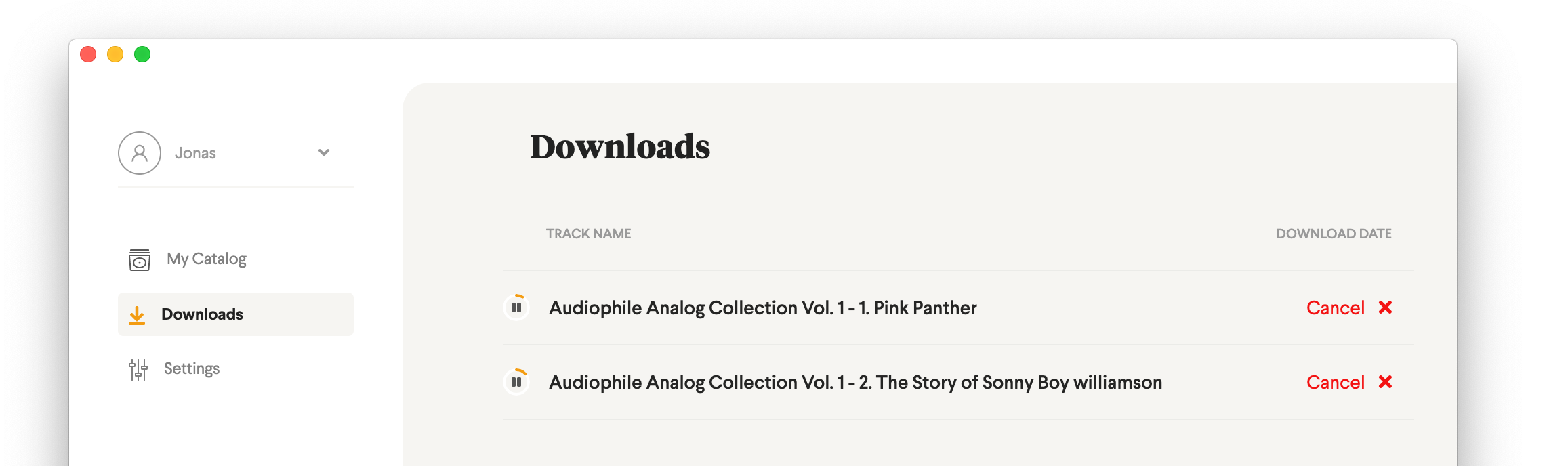 Downloads overview page