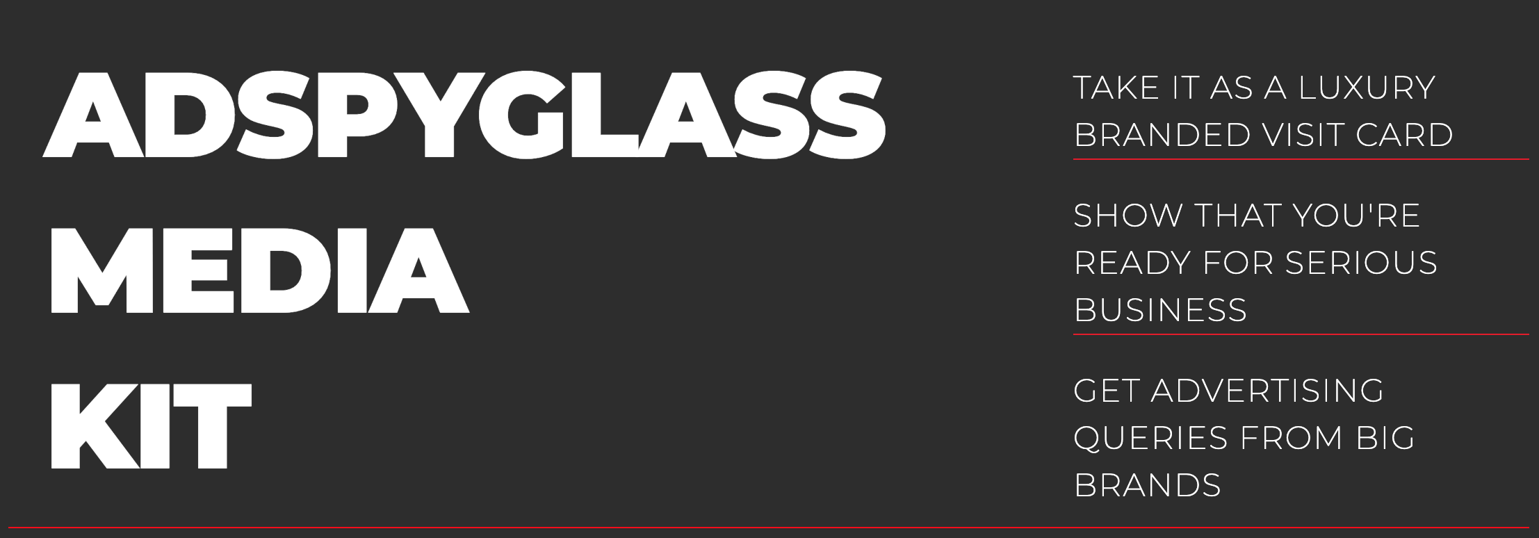 Adspyglass presents a new feature - AdSpyglass Media Kit Maker.  This tool will help you create well-structured, insightful, and beautiful media kits (like the one you've seen on a screenshot) just in a few clicks at no charge. And, the data shown on these media kits is updating dynamically.
