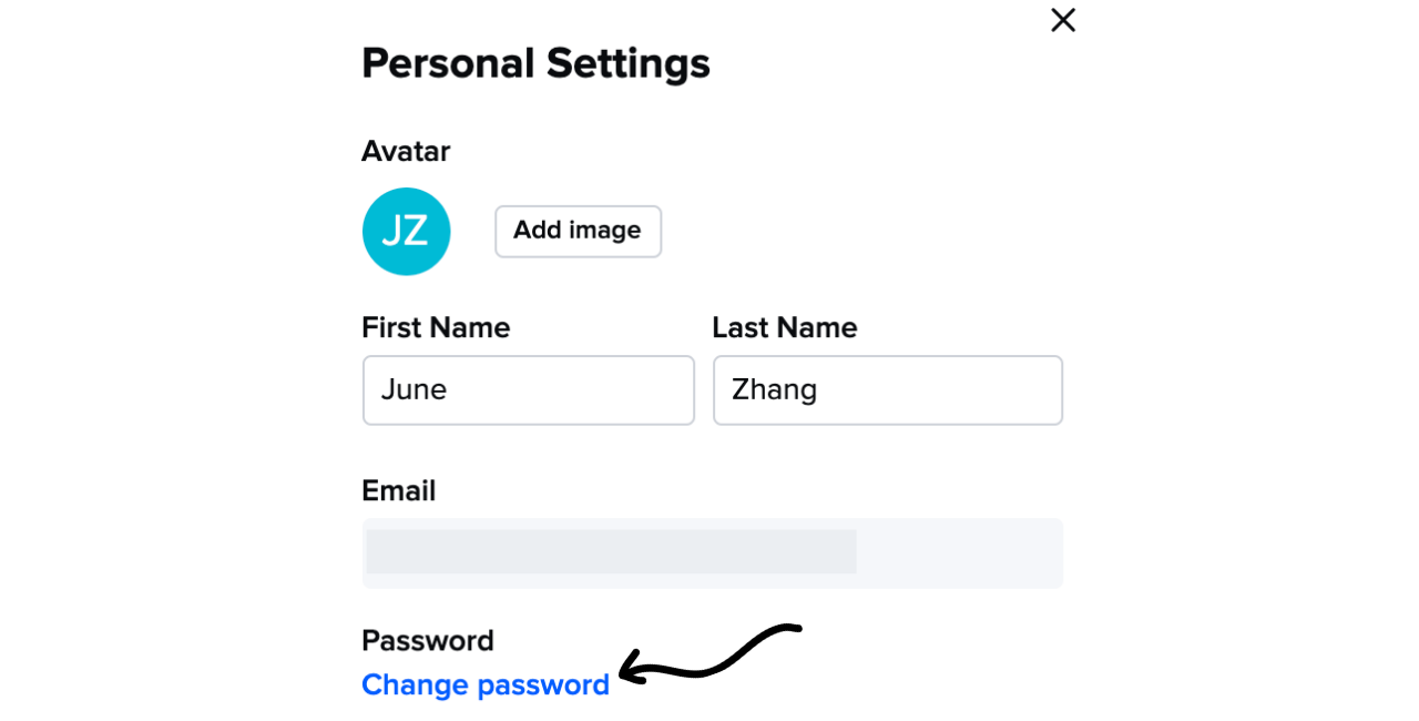 Image of personal settings where you change your password
