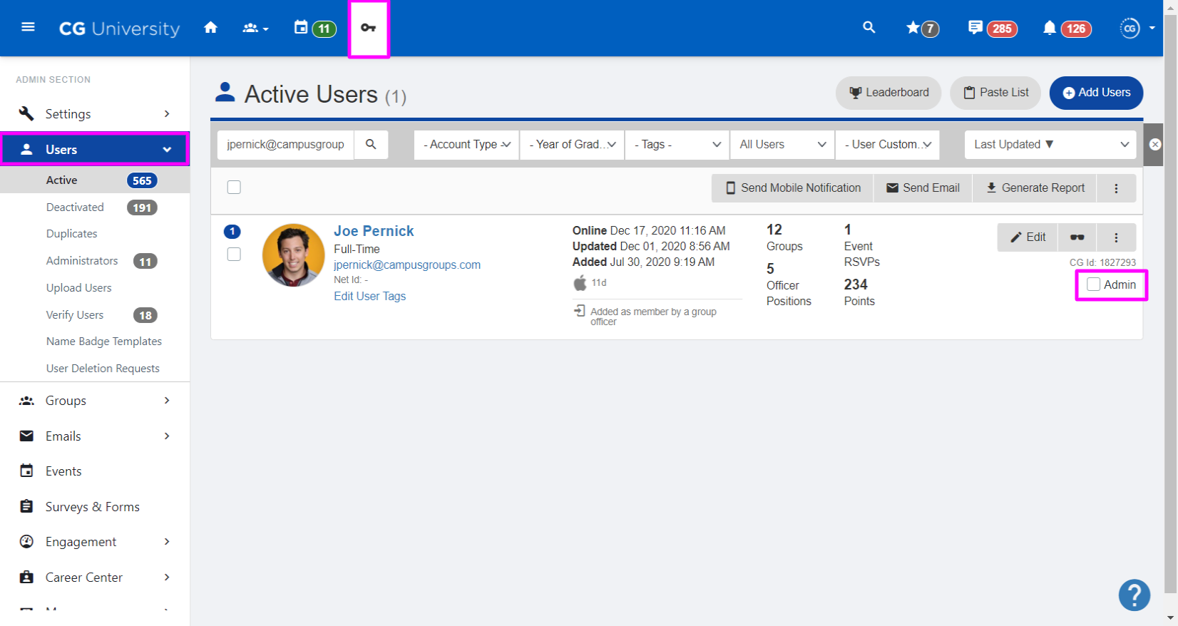 A screenshot highlighting the Admin checkbox on the Users page
